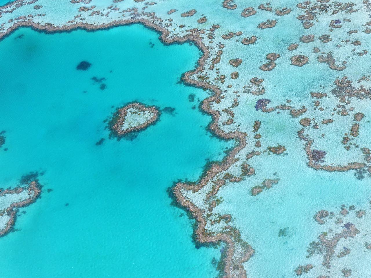 Overhead Photo of Heart Reef, Great Barrier Reef