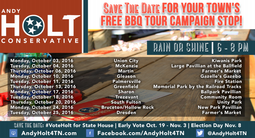 #StandWithAndy Free Campaign Cookout Tour Kicking Off Next Monday, Oct. 3rd In Union City, Other Towns To Follow!