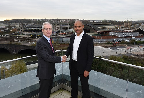 Marvin Rees and Hugh Brady overlooking the site