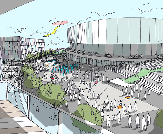 Artist's impression of how the arena and plaza could look