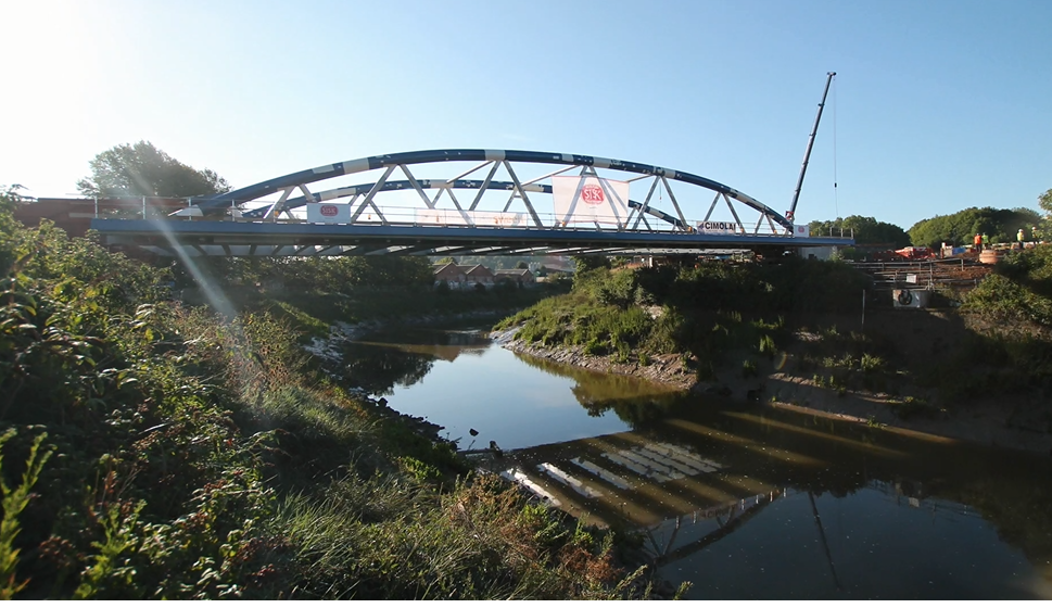 Arena Island bridge in place