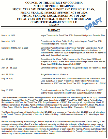 DRAFT Budget Hearing Schedule