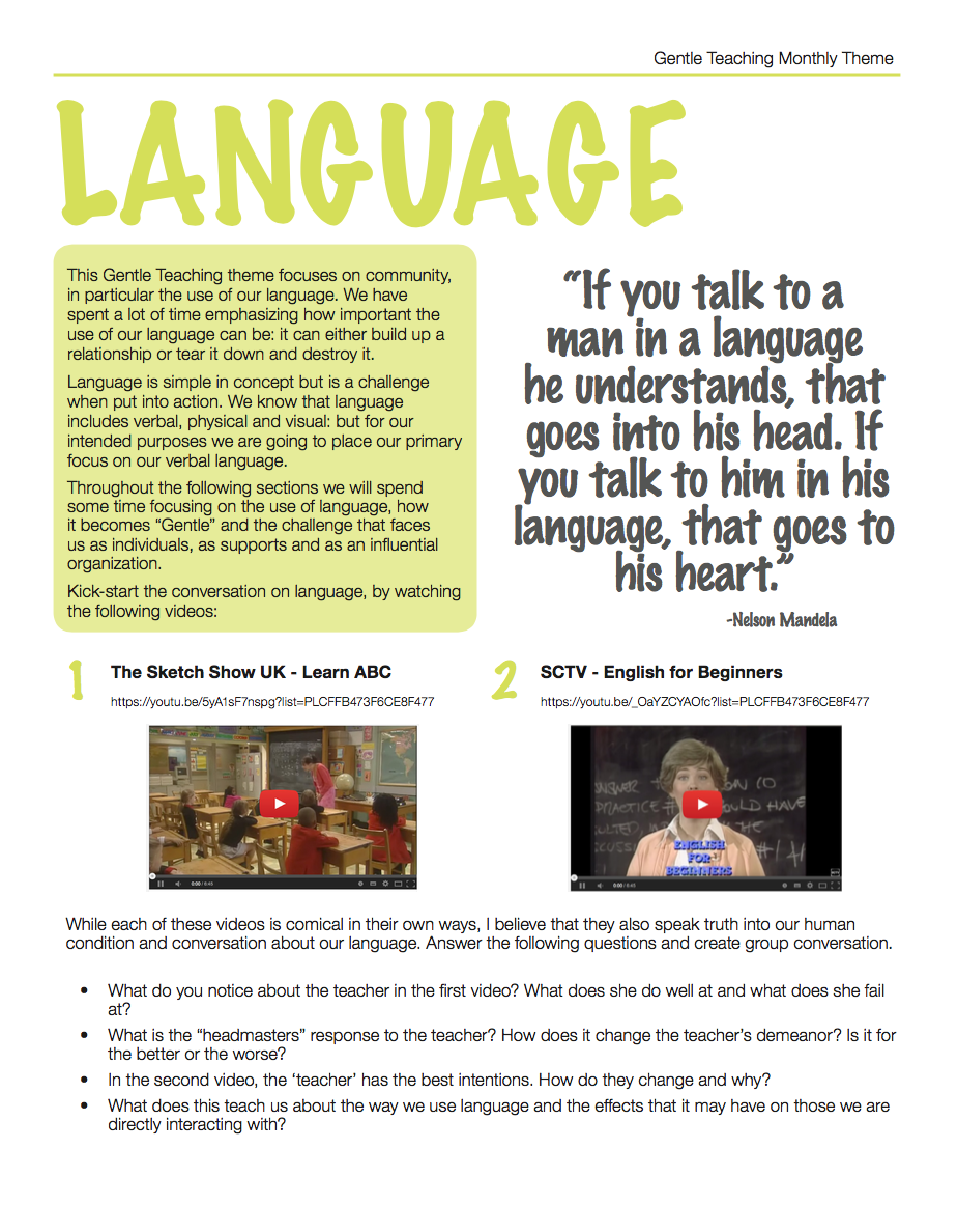 Gentle Teaching Theme: Language
