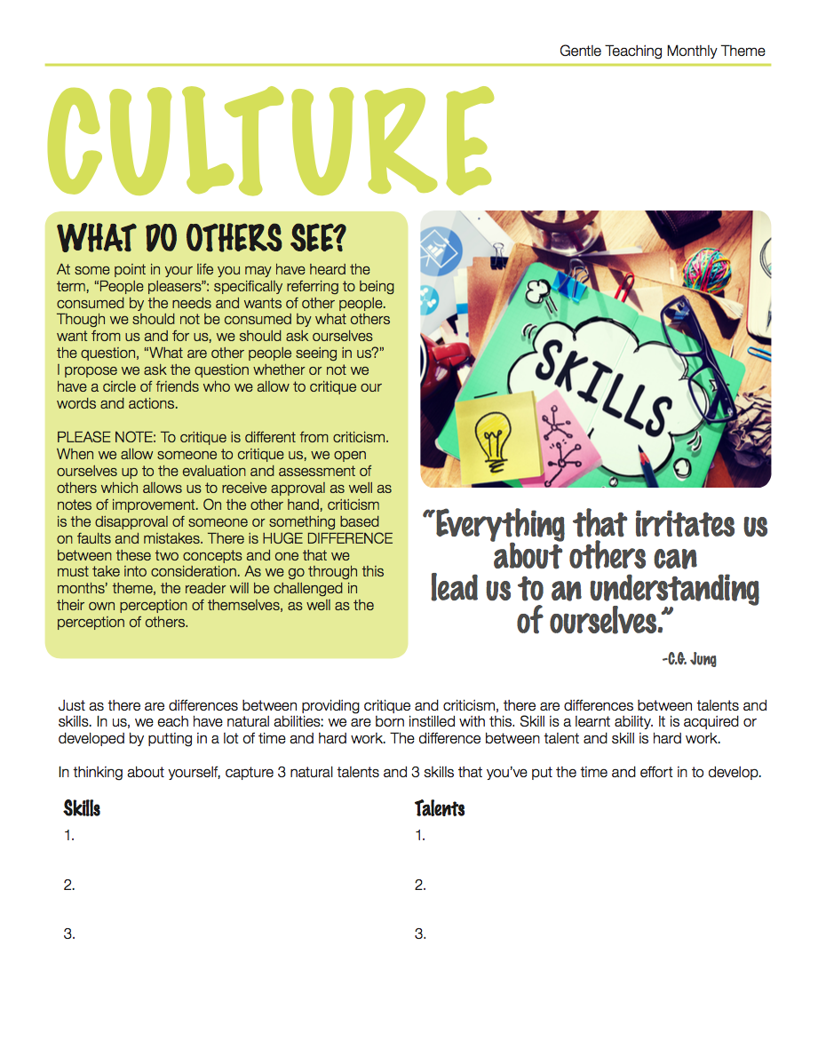 Gentle Teaching Theme: Culture