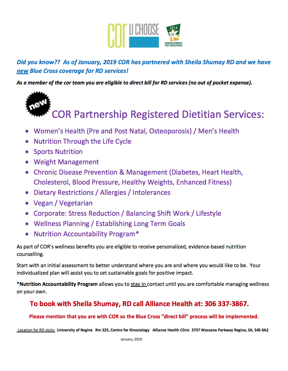Introducing Dietitian Services at COR.