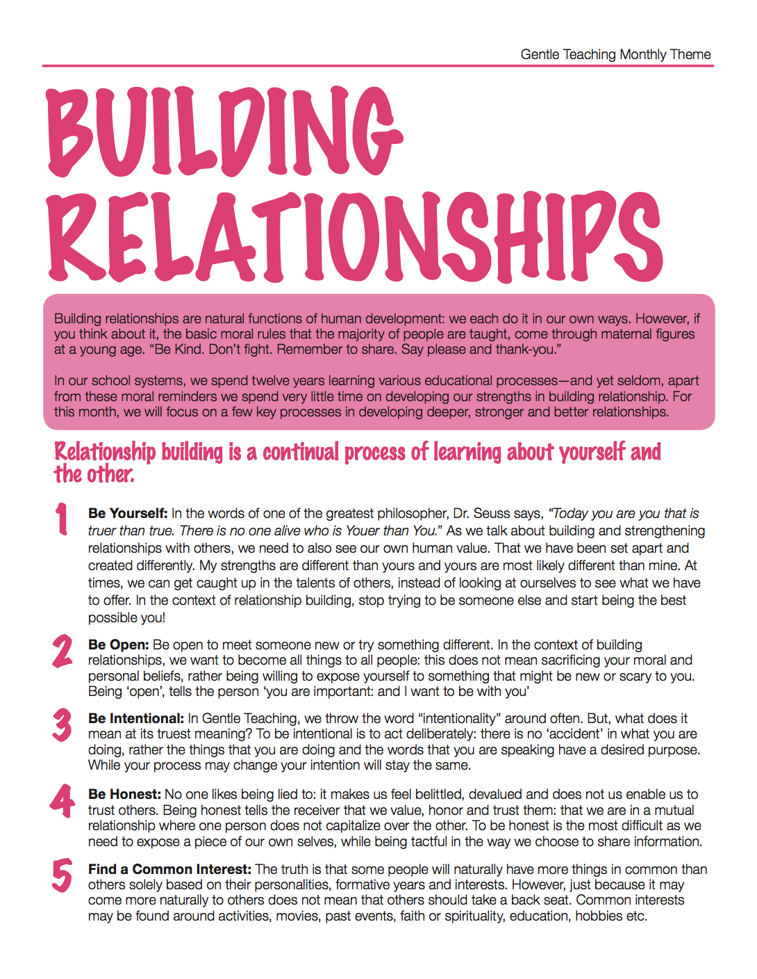 Gentle Teaching Theme: Building Relationships