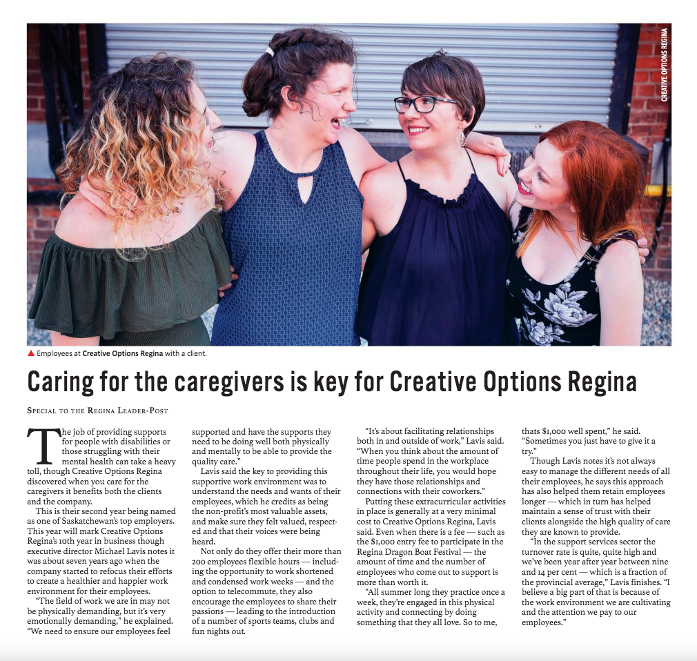 Caring for the caregivers is key for Creative Options Regina