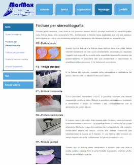 Pagina web sulle Finiture per Stereolitografia