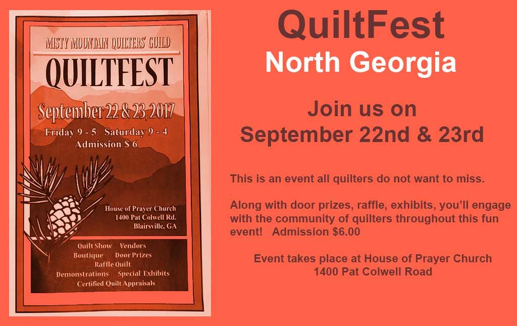 QuiltFest - Blairsville GA  Sept 22nd and 23rd