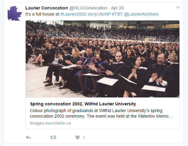 A screenshot of a Tweet containing a link from Laurier Archives' VITA collection
