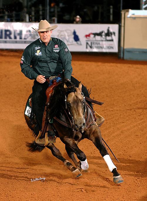 """Whizkey N Diamonds"" mit NRHA-Six-Million-Dollar-Rider Shawn Flarida im Sattel (© Waltenberry)"