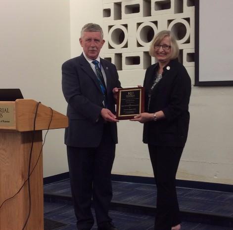 Susan Palmer receiving an award