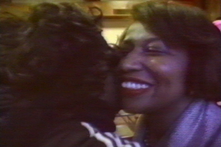 Carol Moseley-Braun gets a hug after her historic Senate upset.