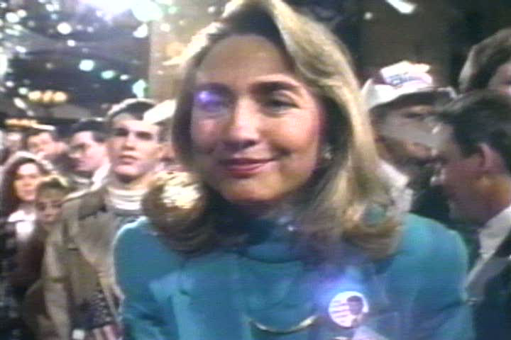 Hillary Clinton celebrates at the Palmer House Hilton in Chicago after an early victory in the critical Illinois primary.