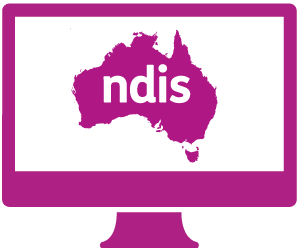 A monitor with a Australia, and 'ndis' in it.