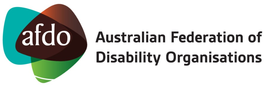 """AFDO Logo with wording """"Australian Federation of Disability Organisations"""""""