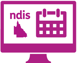 A monitor with the Facebook logo, NSW, and a conversation with 'ndis' in it.