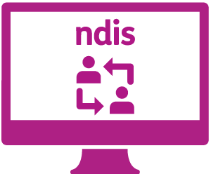 A monitor with two people in a feedback loop, and 'ndis'.