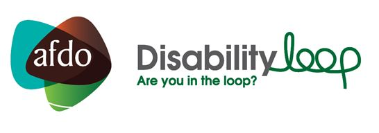 "AFDO Disability Loop log with text ""Are you in the loop?"""