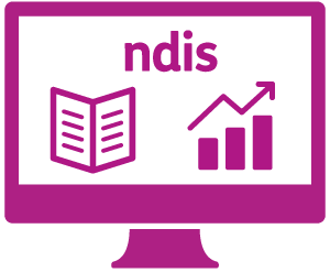 A monitor with a booklet, a graph, and 'ndis'.