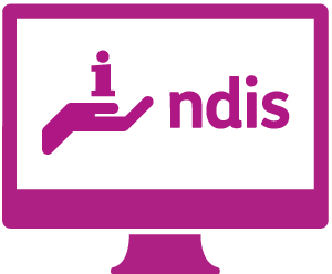 A monitor with a hand holding an 'information' symbol, and 'ndis'.