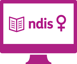 A monitor with a booklet, 'ndis', and the symbol for female.