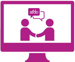 A monitor with two people shaking hands and talking about AFDO.
