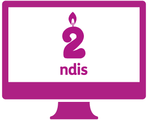 A monitor with a birthday candle shaped like the number 2, and 'ndis' below it.