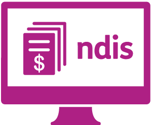 A monitor with a booklet with a dollar sign on it, and 'ndis'.