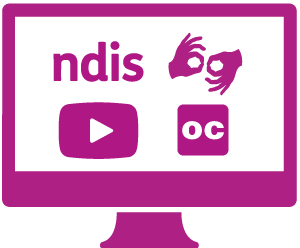 A monitor with 'ndis', the symbol for sign language, a video play button, and the symbol for open captions in it.