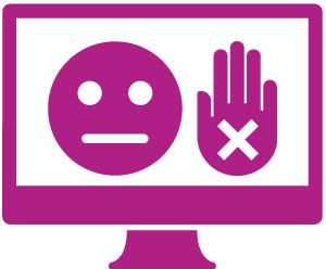 A monitor showing an unhappy face, and a hand held up to mean 'stop'. The hand has a cross in it to reinforce the idea of 'stop' or 'no'.