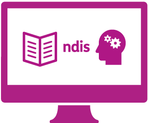 A monitor  with a booklet, 'ndis' and a person's head with cogs in it.