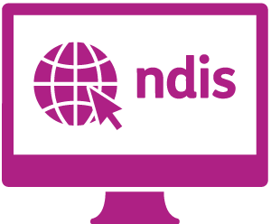 A monitor with a globe and a cursor, and 'ndis'.