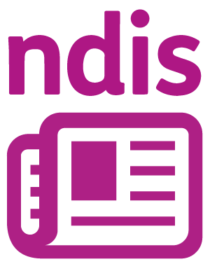 'ndis' and a newspaper.