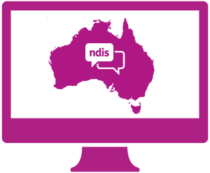 A monitor with Australia and a conversation about the NDIS in it.