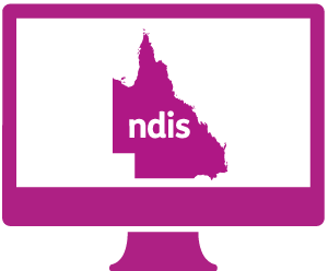 A monitor with Queensland and 'ndis' in it.