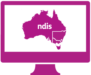 A monitor with a Australia with 'ndis' in it. NSW and VIC are outlined.