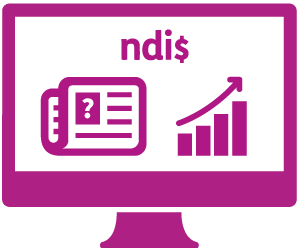 A monitor a newspaper and a question mark, a bar graph with an upwards moving arrow, and 'ndi$'