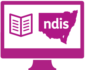 A monitor with a booklet, and New South Wales with 'ndis' in it.