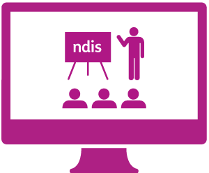 A monitor with a person presenting information about the NDIS to an audience.