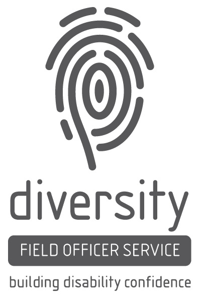 Diversity Field Officer Service - building disability confidence (logo includes an image of a fingerprint)