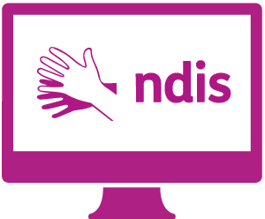 A monitor with the Auslan symbol, and 'ndis'.