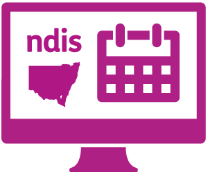 A monitor showing 'ndis', the state of New South Wales, and a calendar.