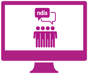 A monitor with a group of people talking about the NDIS.