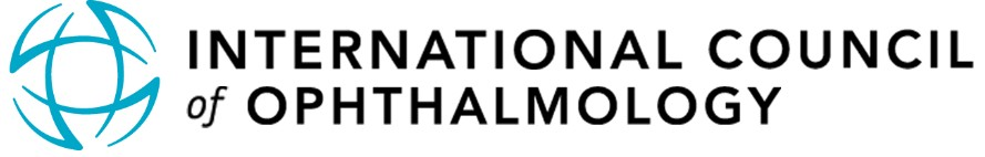 International Council of Ophthalmology logo with graphic of a globe and an eye.