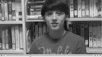Troy Howard Middle School student Cameron Pillitteri is shown in a frame of a video he took part in producing.