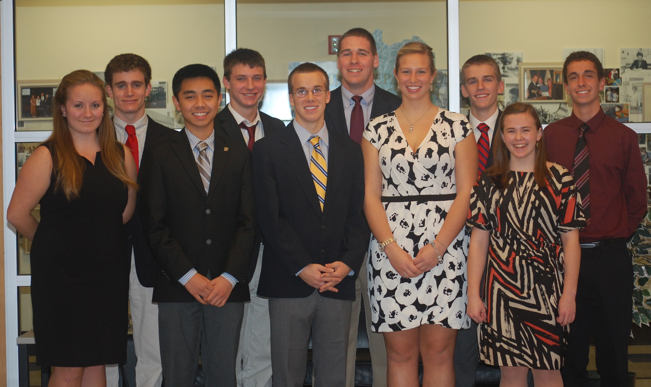 Group shot of the 10 student finalists for the 2013 United States Senate Youth Program.