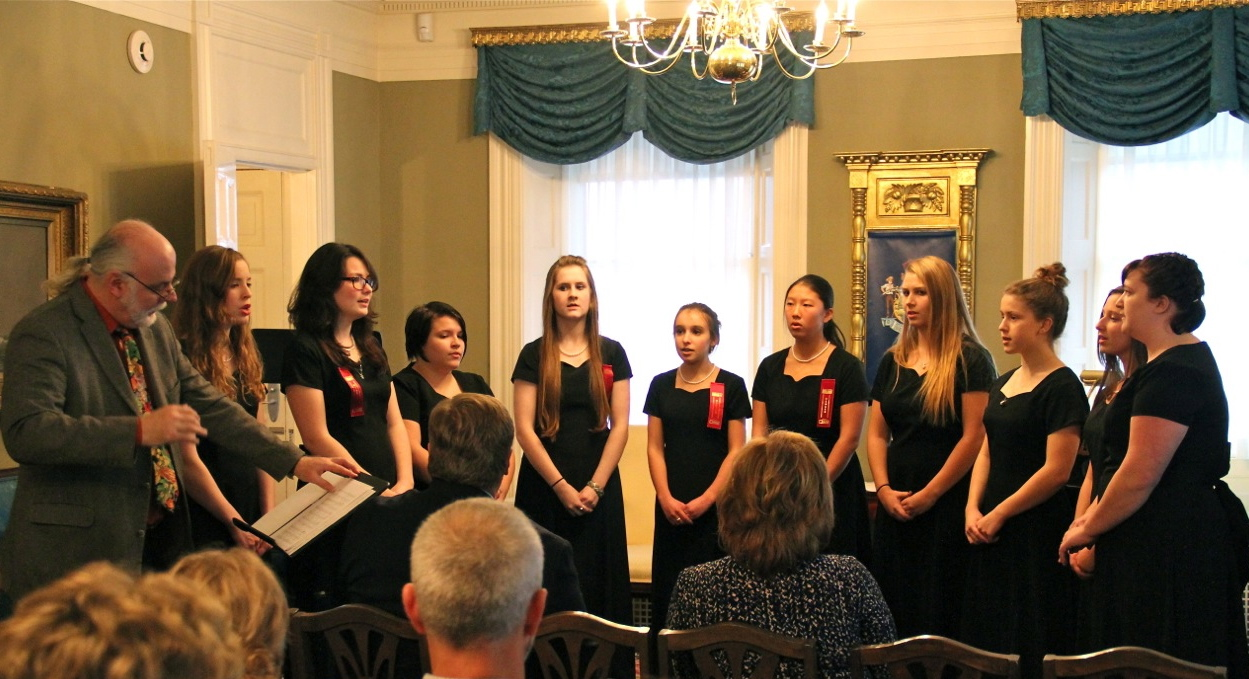 The Messalonskee High School Ladies Chorus performed during the Celebration of Arts Education athte Blaine House.