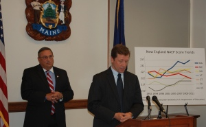 Governor LePage and Commissioner Bowen at press conference.