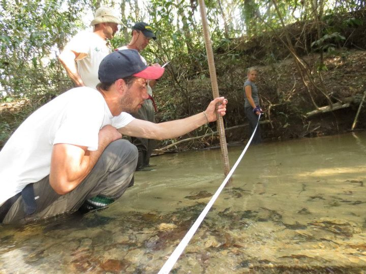 York High School students develop a stream profile in the highland region of Taboco, Brazil.